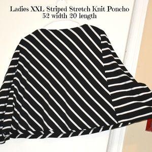 Sweaters - XXL Striped Knit Poncho